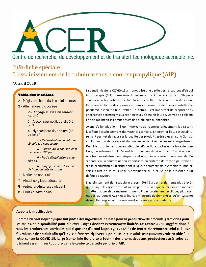 Info-fiche sur l'assainissement de la tubulure sans AIP