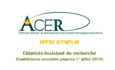 Offre d'emploi au Centre ACER - Chimiste-assistant de recherche