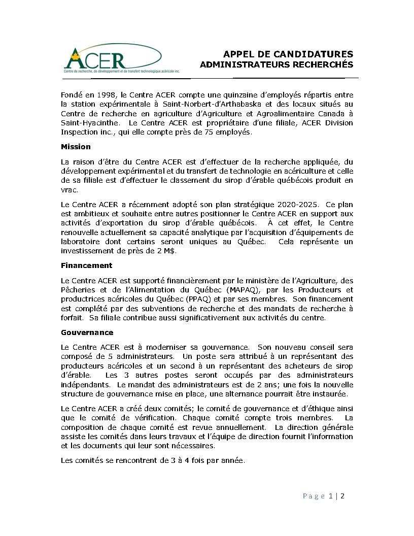 Administrateurs indépendants recherchés - appel de candidatures